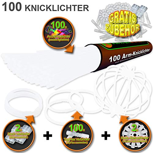 100 Knicklichter Kaltweiss | inkl 100x TopFlex | 2x Dreifach | 2x Ball Verbinder