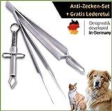 KLINOO Zeckenzangen 3er Set Edelstahl rostfrei - Zeckenpinzette für Mensch Hund und Katze Zeckenentferner aus hochwertigem Metall
