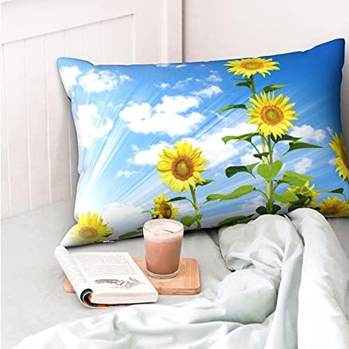 VVSADEB Hermosa funda de almohada de girasol 50 x 70 cm, funda de almohada con cremallera, suave y acogedora, arrugas, tamaño estándar 1 paquete