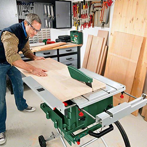 Bosch DIY Tischkreissäge PTS 10 T, Untergestell, Spaltkeil, Tischverlängerung, Winkelanschlag, Absaugschlauch, Karton (1400 W, Kreissägeblatt Nenn-Ø  254 mm, Schnitttiefe bei 90° 75 mm) - 6