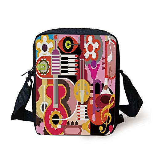 Music Decor,Complex Graphic with Various Musical Properties Icons Keyboard Festival Piano Party Art Design,Multi Print Kids Crossbody Messenger Bag Purse