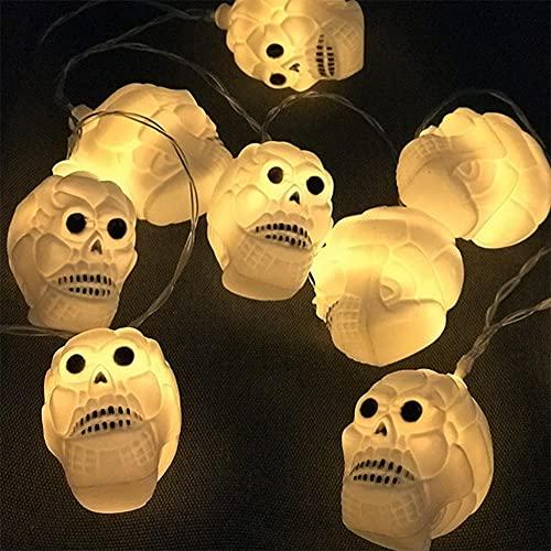 LLDE Cadena de luces decorativa con pilas, para Halloween, decoración de Halloween, cadena de luces LED Scary, cráneo, para fiestas, bodas, inicio de Navidad