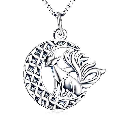 Fox Pendant Necklace, Sterling Silver Nine Tail Fox Moon Necklace Jewelry Gifts for Women,Girls, Unisex 18' (Oxidized fox necklace)
