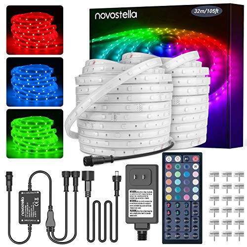 LED Rope Light Outdoor, Novostella 105ft Waterproof RGB Strip Lights, Color Changing Dimmable Cuttable Tape exterior Lighting Kit, for Decorative Location Garden Stairs Balcony Party Outside, 24V IP65
