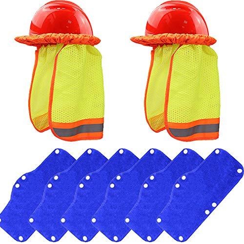 Alpurple 8 PCS Hard Hat Sun Shade Set-Sun Neck Shield Sweatband Set Include 2 PCS Full Brim Mesh Neck Sun Shade Protector and 6 PCS Hard Hat Sweatband for Helmet,Reflective Stripe, Sun Protection