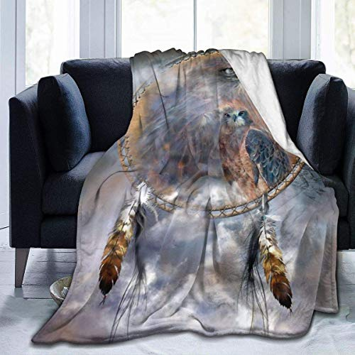 Dream Catcher Spirit of The Hawk Micro Fleece Flannel Throw Blanket Lightweight Super Fluffy Bed Blanket Fit Office Lap Suitable for All Season