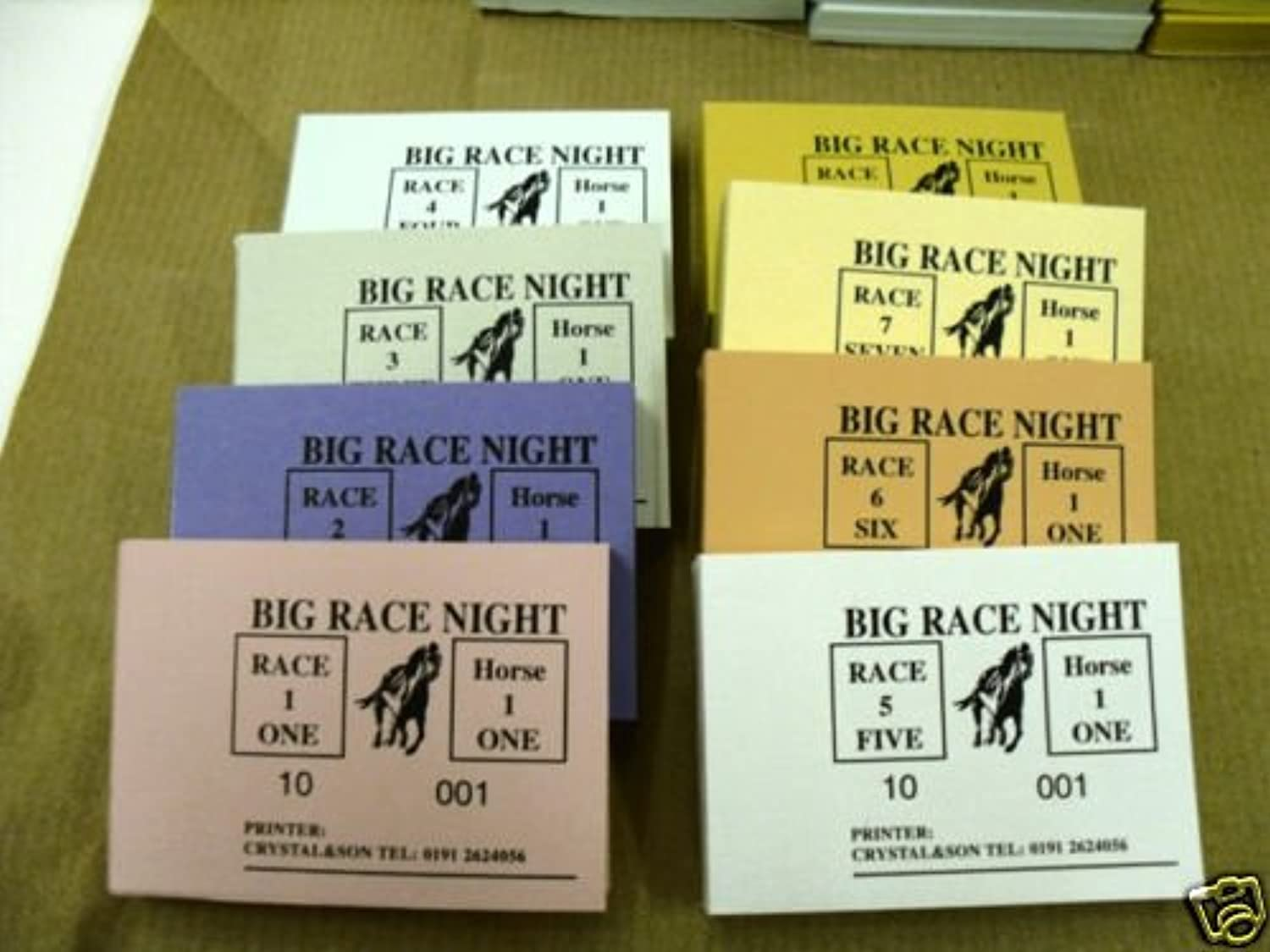 Race Night Betting Tickets 100 Tickets 8 Horses 8 Races