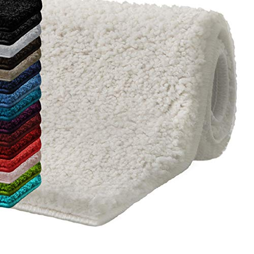 casa pura Alfombras baño Antideslizante | Alfombrilla baño | Unicolor | Ultra Absorbente | Muchos Colores y tamaños (Ivory, 70X130 cm)