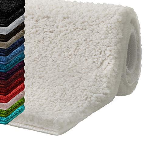 casa pura Badematte Hochflor Sky Soft | Weicher, Flauschiger Badezimmerteppich in Shaggy-Optik | Badvorleger rutschfest waschbar | schadstoffgeprüft | 16 Farben in 6 Größen (50x80 cm, Creme/Ivory)