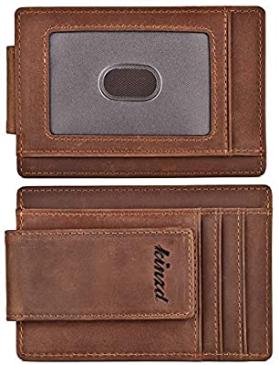 Money Clip, Front Pocket Wallet, Leather RFID Blocking Strong Magnet thin Wallet (One Size, Khaki (Updated ID Window Crazy Horse Leather))