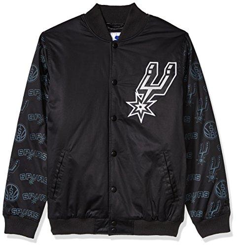 STARTER Adult Men NBA Varsity Bomber Jacket San Antonio Spurs, Medium, Black