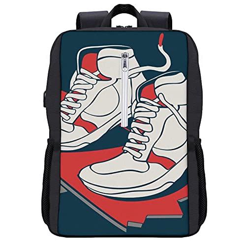 LUDOAN Zaino per laptop da viaggio,Skateboard Skater Sneakers Skateboard Vector Graphic Design,borsa per computer sottile e resistente antifurto da lavoro con porta di ricarica USB