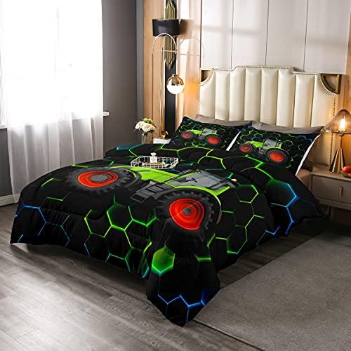 Juego de edredón para camión, 2 piezas, para niños, niñas, nido de abeja, cómodo, juego de cama con 1 funda de almohada, diseño geométrico de diamante, tamaño individual