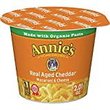 Annie's Macaroni and Cheese, Microwave Cups, Pasta & Real Aged Cheddar Mac and Cheese, 2.01 oz (Pack of 12)
