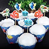 12pc Finding Dory Cupcake Topper and Cupcake Wrapper Picks Boy Children Finding Dory Party Decoration Kid's Birthday Finding Dory Party Decoration Supplies.