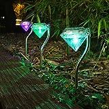 Oukerde Edelstahl-Diamant-LED-Solarlichter Gartenpfahl-Laternen,Weg-Landschafts-Bodenmontage-Lampe,Diamantform-Gartenlampe Zaun Solarlampen-Licht (4 Solarlichter)