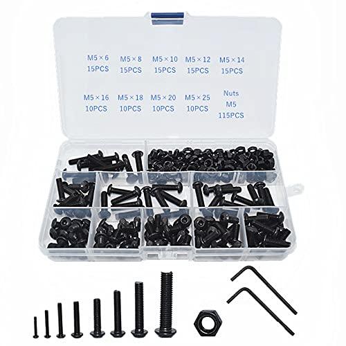 Home CNLXDSB Kit de Pernos Hex Hexagon Socket Button Head Tat Tuerca de Tornillo de Carbono Negro M2 M2.5 M3 M4 M5 M6 M8 Tornillo de Cabeza Redonda Conjuntos de Tornillo y Tuercas (Color : M5)