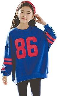 Sudadera de Manga Larga,Suelto Pullover Sweatshirt, Top Camiseta con Cuello Redondo para Niñas