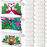 Cosmetic Bags Multipurpose Sublimation Blanks Bags DIY Heat Transfer Makeup Bags Toiletry Pouch Iron on Transfer Zipper Canvas Pencil Bag for Multi-Functional School Travel DIY Craft (12 Pieces)