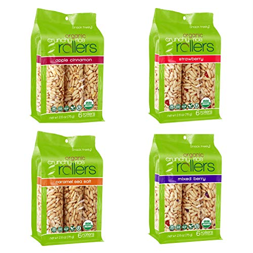 Crunchy Rice Rollers - Organic Snacks - Gluten Free - Allergy Friendly - (4 Packs of 6 Rollers) (Variety Pack)