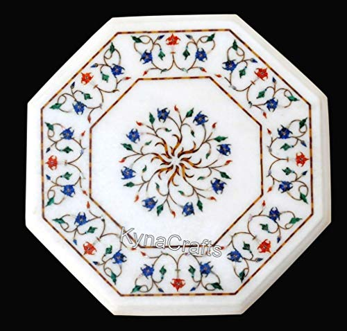 13 x 13 Inches Octagonal Shape White Marble Table Top with Pietra Dura Art Hand Crafted Sofa Side Table Top for Decor