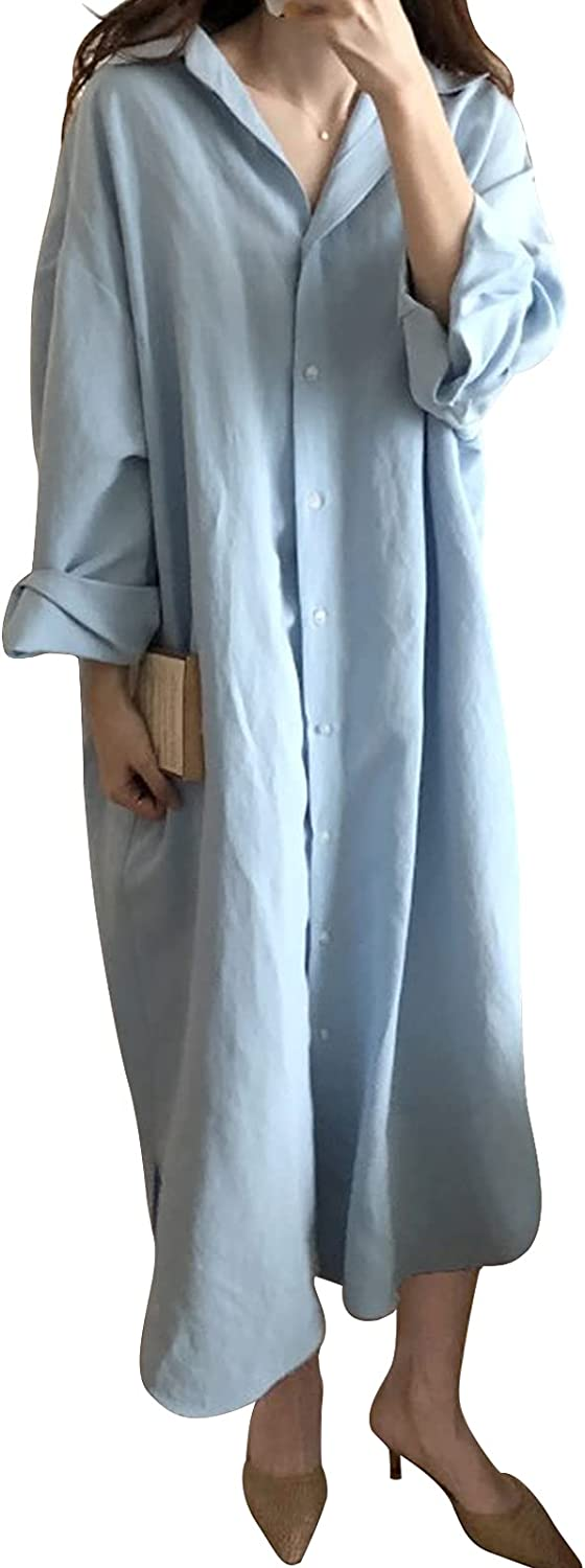 Ehoomely Women Cotton Linen Shirt Dress Casual Loose Maxi Dresses Chic Button Down Roll Up Sleeve Long Cotton Blouse Dress