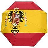 Merle House Paraguas Bandera española Golf Viajes Sol Lluvia Paraguas automáticos a Prueba de Viento con protección UV para niñas Niños Niños