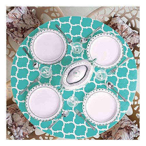HUANXA Impermeable Redondo Mantel para Terraza Interior Al Aire Libre Comedor, Vinilo Manteles con Borde Elástico Libre De Arrugas Limpiable PVC Mantel De Mesa -P-diámetro 90-110cm(35-43in)