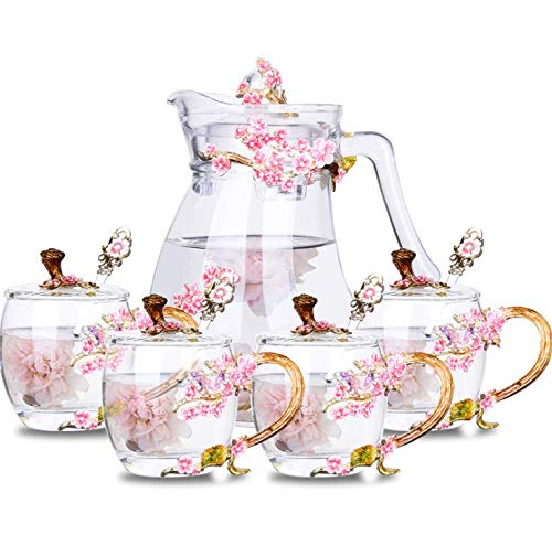 SUQ I OME Luxury Flower Glass Tea Cup Novelty Coffee Mug Teapot Set Decorated with Plum Blossom Flower,Gift for Women, Sister, Wife, Mother on Wedding, Anniversry, Birthday(Plum Red Set with Lid)