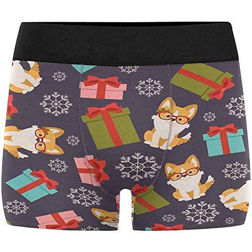 Pretty Moonlight Herren Boxer Briefs M Größe Unterhose Corgi Puppy in dekorierten Weihnachtsbrillen