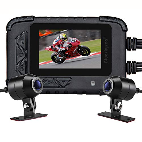 Motorcycle Dash Cam Camera, Blueskysea DV688 Sportbike Dashcam 1080p Front Rear Dual Lens Waterproof 130° Angle with 2.35