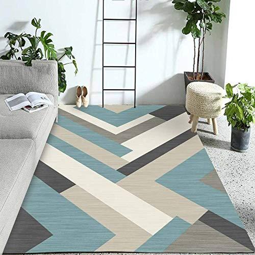 HXJHWB Designer Teppich Wohnzimmer - Einfacher hochwertiger rechteckiger Innenteppich Schlafzimmerbett geometrischer weicher Teppich am Bett-160CMx200CM