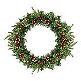 SALCAR Couronne de Noël pour Porte Couronne Décoration, 60cm Guirlande de Sapin de Noël Artificielles Fait à Main Couronne de Fleurs avec Baies Rouges et Pommes de Pin Décoré, Exterieur