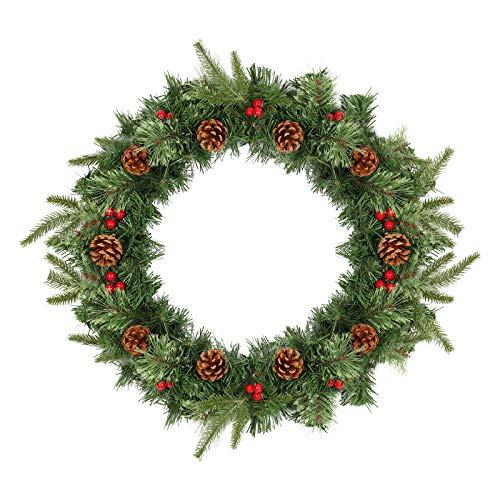 SALCAR Corona de Navidad para Puerta de casa 60cm, Coronas Navideñas Artificial con Frutos Rojos y Piñas, Decoración De Navidad Colgante para Puerta Colgante Adornos de Pared