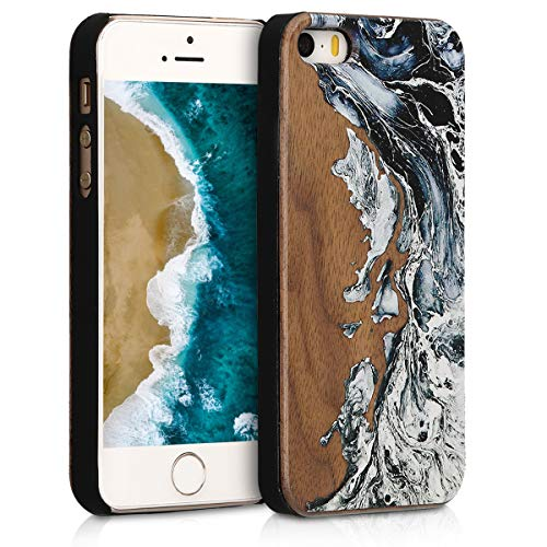 kwmobile Wood Case Compatible with Apple iPhone SE (1.Gen 2016) / 5 / 5S - Hard Wooden Design Cover - Watercolor Waves White/Black/Brown