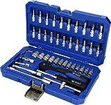 Brilliant Tools BT020046 Coffret de Douilles et cliquets 1/4', 46 pcs, Acier Inoxydable, Bleu/Noir, TLG