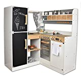 Sun Corner Play Kitchen Paris, grey - Wooden kids play kitchen with doors that open and close, knobs that turn and click and a working chalkboard