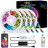 65.6FT/20M LED Strip Lights, HRDJ RGB LED Light Strip Music Sync RGB LED Strip,5050 SMD Color Changing LED Strip Light Bluetooth Controller + 24 Key Remote LED Lights for Bedroom Home Party