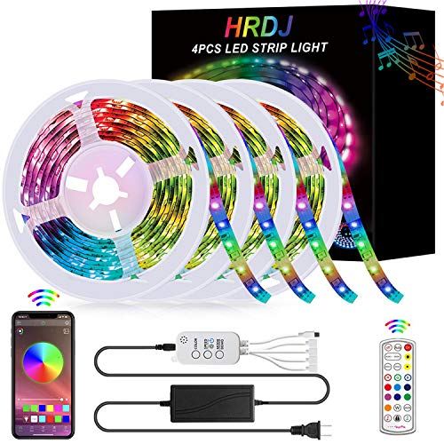 65.6FT/20M LED Strip Lights, HRDJ RGB LED Light Strip Music Sync RGB LED Strip,5050 SMD Color Changing LED Strip Light APP Controller + 24 Key Remote LED Lights for Bedroom Home Party(4x16.4FT)