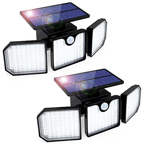 Luz Solar Exterior GolWof 230 LED 3 Cabezas Lampara Solar Exterior Sensor...