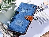 Yidai-Silu Galaxy Note 10+ Jeans Leder Hülle 【Cowboy Style, Retro Mashup, Standfunktion】 Handy Tasche Stoßfest Cover Schutzhülle Geldbörse Etui für Samsung Galaxy Note 10+ Plus / 5G 6,8 Zoll - Blau