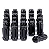 M14x1.5 Lug Nuts Black with Spline Tuner, XL 2 inches Length Conical Aftermarket Wheel Nut, Compatible with Chevy GMC Ford Cadillac Lincoln SAAB Saturn Silverado 1500 Savana, Set of 24