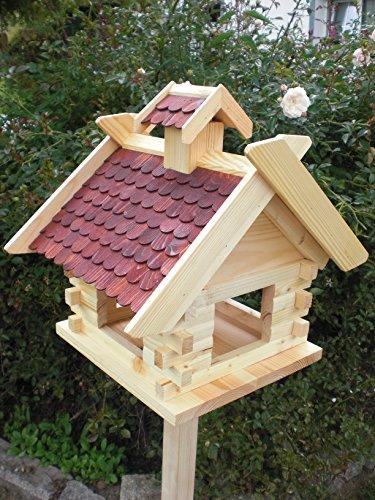 Vogelhaus mit Ständer (V05+S1) XXXL Braun-Vogelhäuser Vogelfutterhaus Vogelhäuschen-aus Holz- Schreinerarbeit- - 2