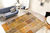 One Couture Patchwork Teppich Gold Gelb Vintage Design Wohnzimmer Wohnzimmerteppich Esszimmerteppich Teppichläufer Flur-Läufer, Größe:80cm x 150cm