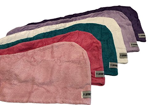 Turbie Twist Cotton Hair Towel (6 Pack) Dk Purple, Lt Purple, Dk Pink, Lt Pink, White, Blue