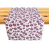Cushystore Tischläufer mit rotem Blumenmuster, chinesischer Stil, orientalisch, 100 % Baumwolle, Burgunderrot, 33 x 91,4 cm