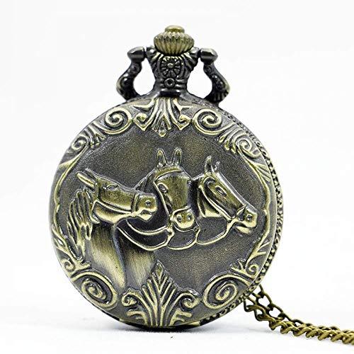 J-Love Zodiac 12 Bronce Two Horse Running Pattern Hollow Cuarzo Reloj de Bolsillo Collar Colgante Mujeres Hombres Regalos
