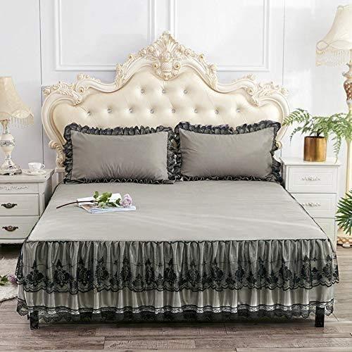 Faldón de Cama Falda de cama doble algodón doble / soltero / rey súper / tamaño colchoneta colchoneta cubierta de colchón protector de loto de dos caras, diseño de encaje, diseño de encaje es romántic