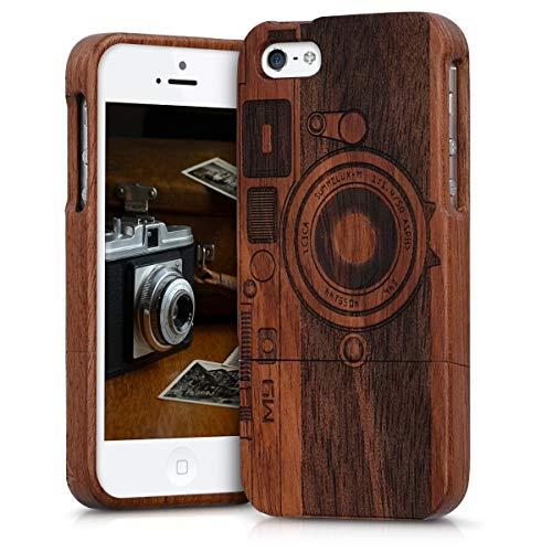 kwmobile Funda Compatible con Apple iPhone SE (1.Gen 2016) / 5 / 5S - Carcasa de Madera para móvil - Case Trasero cámara Retro