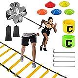 Escalera de Entrenamiento,Kit Entrenamiento Velocidad y Agilidad de Fútbol Escalera de Velocidad Escalera de Coordinación para Fútbol, Fitness, Deportes cinturón de Entrenamiento